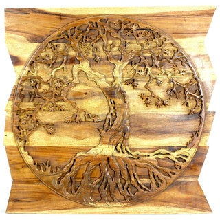 Tree of Life Round hand carved on Uneven Boards 36 in x 36 in Antique Oak Oil (India)