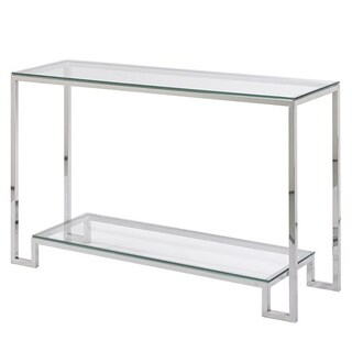 Large Demster Glass Stainless Steel Console Table