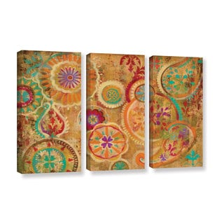 Silvia Vassileva's 'Contemporary Paisley' 3 Piece Gallery Wrapped Canvas Set