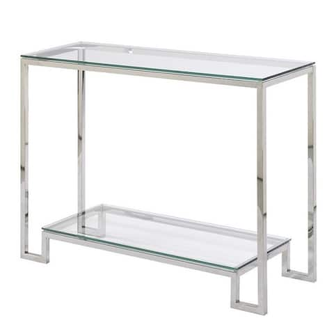 Demster Glass and Metal Rectangle Console Table