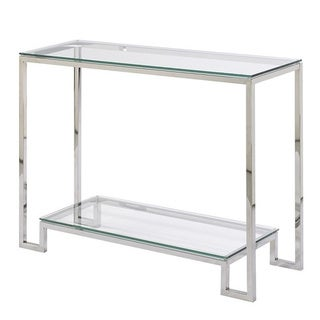 Small Demster Glass Stainless Steel Console Table