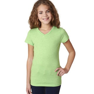 Next Level Girls' Apple Green The Adorable CVC V-Neck T-Shirt