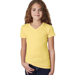 Next Level Girls' Banana Cream Cotton V-Neck T-Shirt