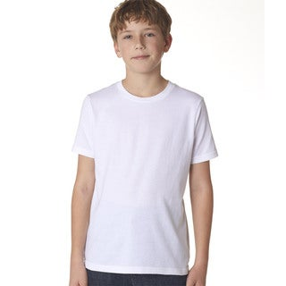 Next Level Boys' Premium Short-sleeve White Cotton Crew T-shirt
