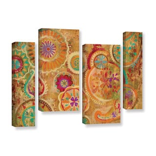 Silvia Vassileva's 'Contemporary Paisley' 4 Piece Gallery Wrapped Canvas Staggered Set