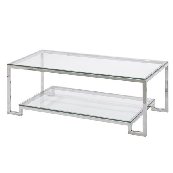 Small Demster Metal And Gl Rectangle Coffee Table