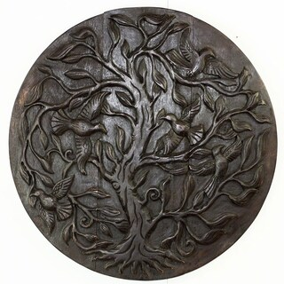 Tree of Life Bird Hand Carved Round 30-Inch Dark Walnut Oil (Thailand)