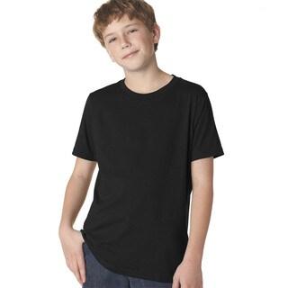 Next Level Boys' Black Cotton Premium Short-sleeve Crew T-shirt