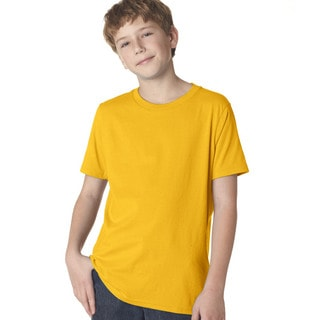 Next Level Boys' Premium Gold Cotton Short-Sleeved Crew T-Shirt
