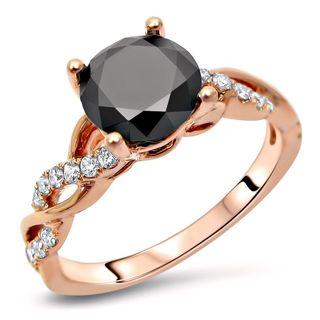 Noori 14k Rose Gold 1 1/3ct TDW Round Black Diamond Infinity Engagement Ring (SI1-SI2,G-H)