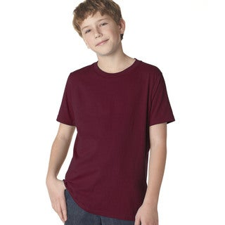 Next Level Boys' Maroon Cotton Premium Short-sleeved Crew T-shirt