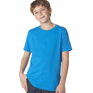 Next Level Boys' Turquoise Cotton Premium Short-sleeve Crew T-shirt