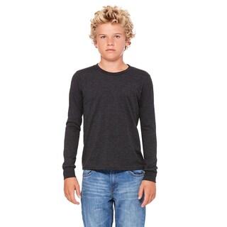 Jersey Boys' Dark Grey Heather Cotton Long-sleeve T-shirt