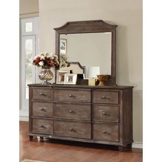 LYKE Home Enzo Brown Dresser and Mirror Set
