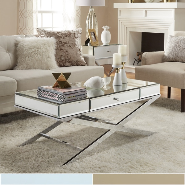 Shop Camille X Base Beveled Mirrored 1 Drawer Coffee Table