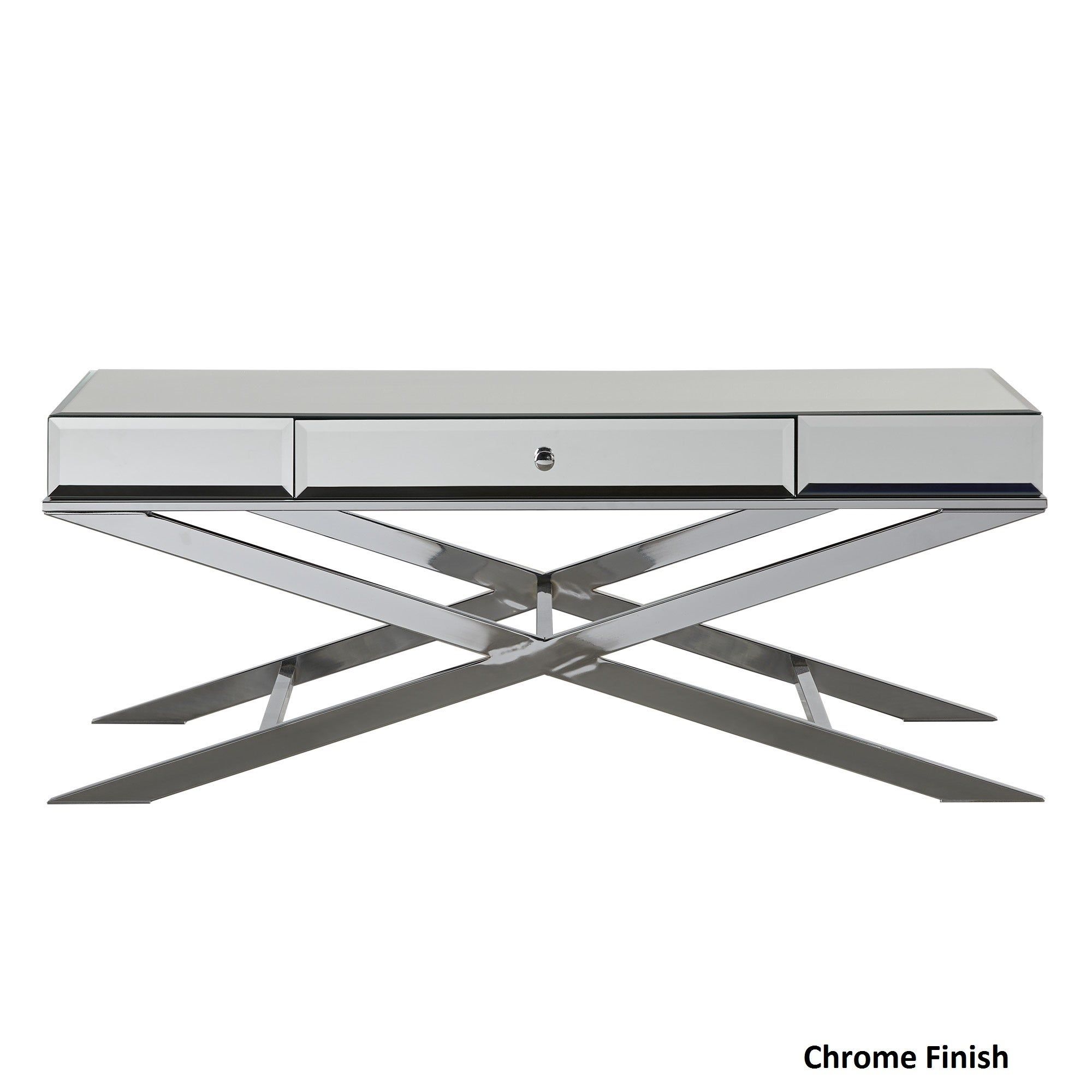 Camille X-Base Beveled Mirrored 1-drawer Coffee Table by ...