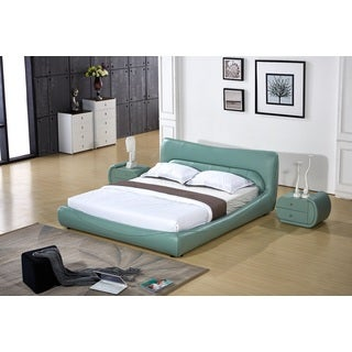 Avery Contemporary Cadet Blue Faux Leather Platform Bed