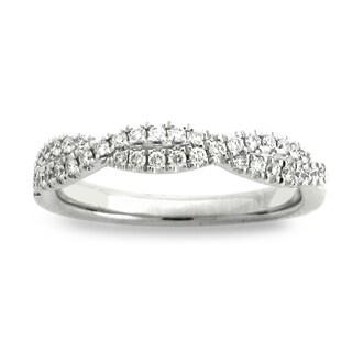 Azaro 14k White Gold 1/3ct TDW Round-cut Diamond Halfway Band (H-I, SI1-SI2)