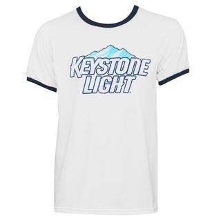 Keystone Light Men's White Cotton Classic Ringer T-shirt