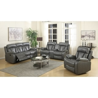 Meridian Avery Grey Leather 3-piece Living Room Set