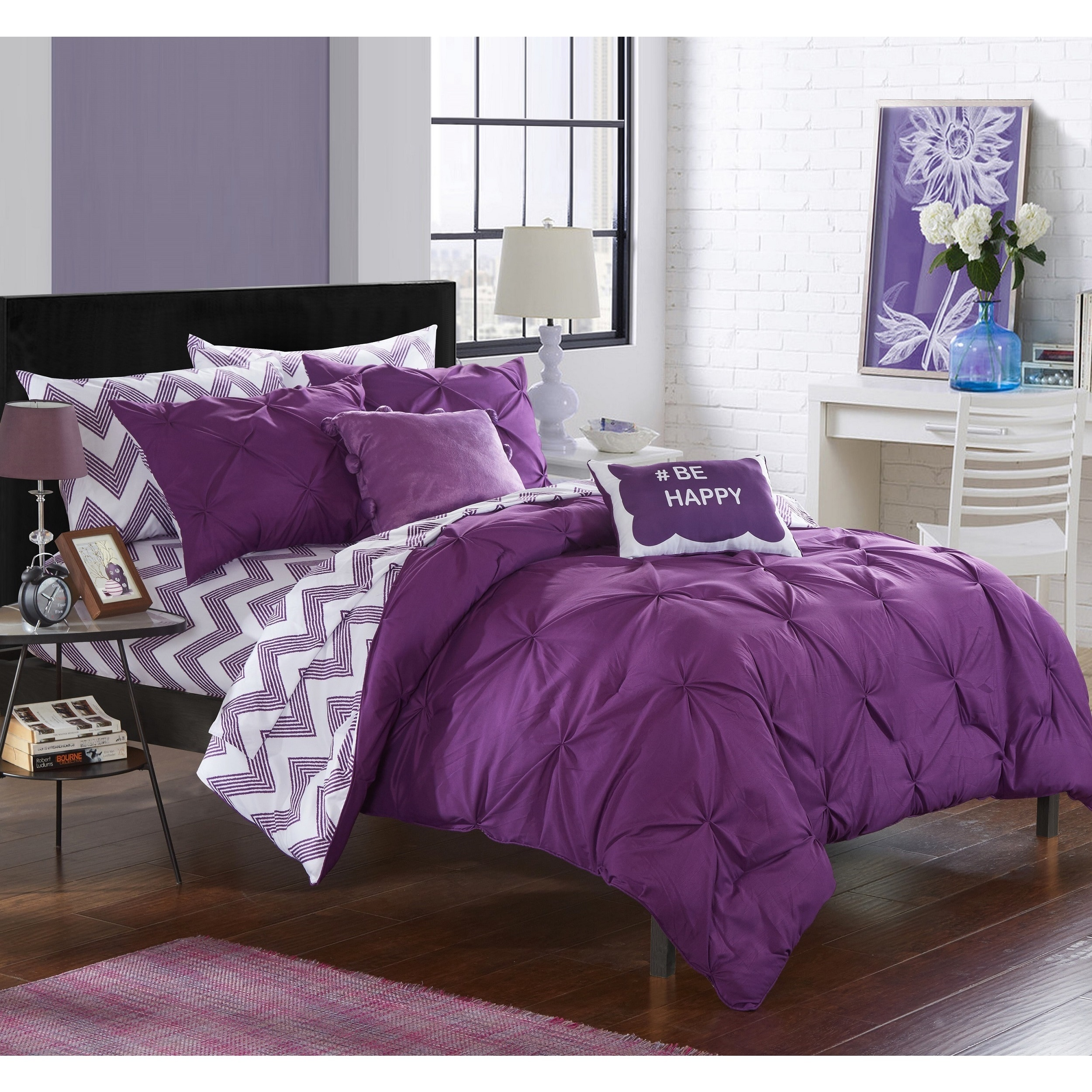 Shop Chic Home Foxville Purple 9 Piece Comforter Bed In A Bag With