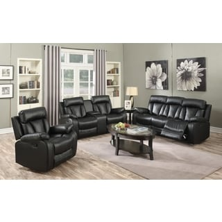 Meridian Avery Black Leather 3-piece Living Room Set