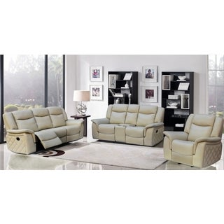 Meridian Carly Taupe Leather 3-piece Living Room Set