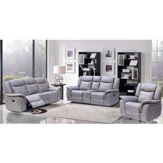Meridian Carly Grey Leather 3-piece Living Room Set