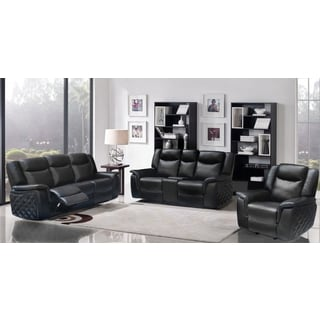 Meridian Carly Black Leather 3-piece Living Room Set
