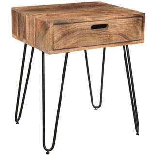 Jaydo Natural Burnt Solid Mango Wood/ Black Iron Accent table