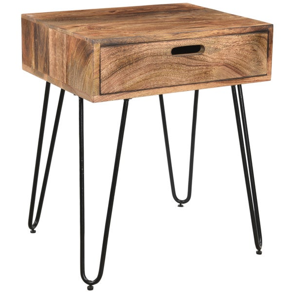 Jaydo Natural Burnt Solid Mango Wood/ Black Iron Accent Table