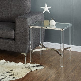Morelia Mixed Media Metal Glass Square Accent Table