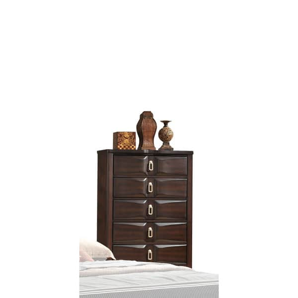 Lancaster Espresso Wood 5 Drawer Chest Image Gallery
