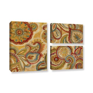 Silvia Vassileva's 'Mandala and Paisley' 3 Piece Gallery Wrapped Canvas Flag Set