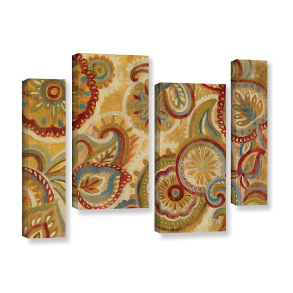 Silvia Vassileva's 'Mandala and Paisley' 4 Piece Gallery Wrapped Canvas Staggered Set