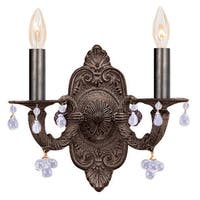 Crystorama Paris Market Collection 2-light Venetian Bronze/Clear Crystal Wall Sconce