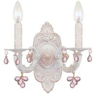 Crystorama Paris Market Collection 2-light Antique White/Rosa Crystal Wall Sconce