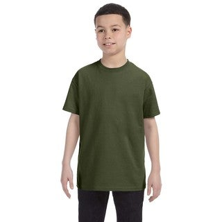 Boys' Military Green Heavyweight Cotton and Polyester Blend T-shirt