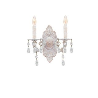 Crystorama Paris Market Collection 2-light Antique White/Clear Crystal Wall Sconce
