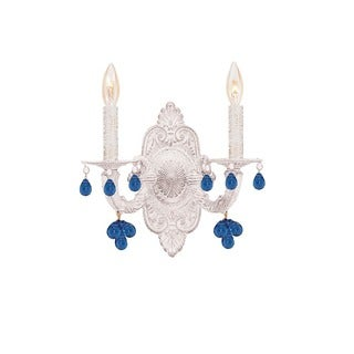 Crystorama Paris Market Collection 2-light Antique White/Blue Crystal Wall Sconce
