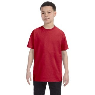 Jerzees Boys' True Red Cotton/Polyester Blend Heavyweight T-shirt