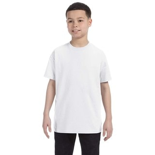 Boys' White Heavyweight Cotton/Polyester Blend T-shirt