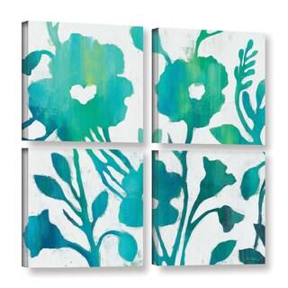 Silvia Vassileva's 'Teal Trio IV on White' 4 Piece Gallery Wrapped Canvas Square Set