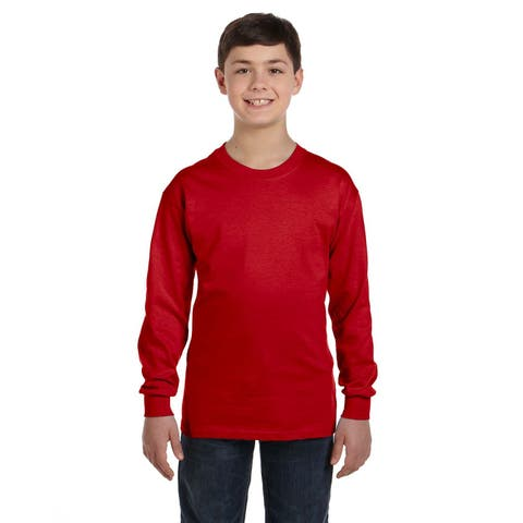 Boys' Red Polyester/Heavy Cotton Long-sleeve T-shirt