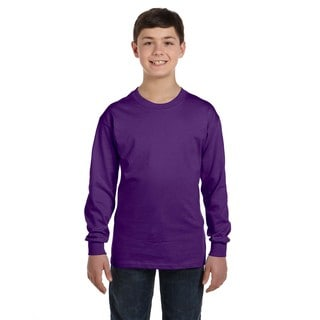 Boys' Purple Polyester/Heavy Cotton Long-sleeve T-shirt
