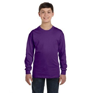 Boys' Purple Polyester/Heavy Cotton Long-sleeve T-shirt
