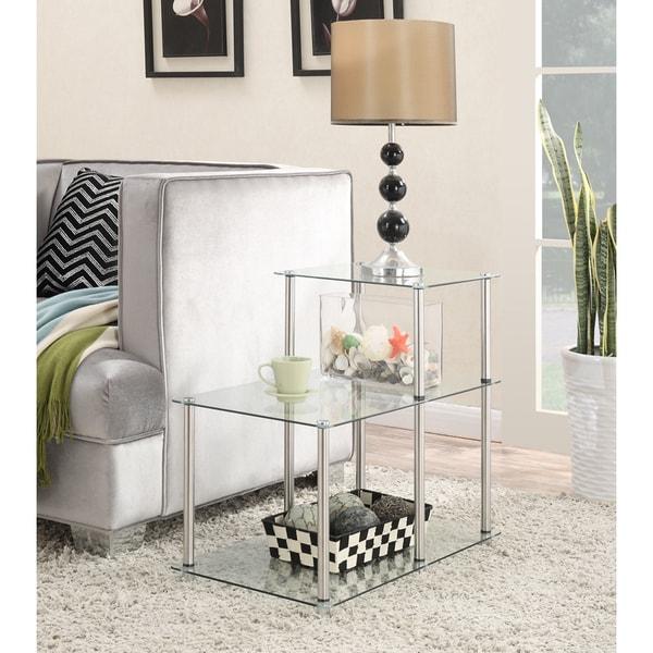 Convenience Concepts Designs2go 3 Tier Glass End Table