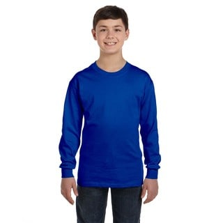 Boys' Royal Heavy Cotton Long-sleeve T-shirt