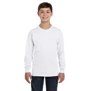 Heavy Cotton Boys' White Long-Sleeve T-Shirt|https://ak1.ostkcdn.com/images/products/12307020/P19141818.jpg?impolicy=medium