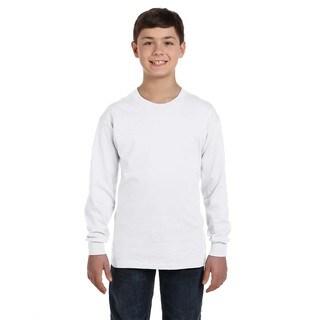 Heavy Cotton Boys' White Long-Sleeve T-Shirt